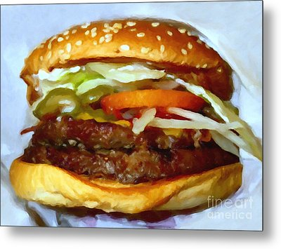Double Whopper With Cheese And The Works - V2 - Painterly Metal Print by Wingsdomain Art and Photography