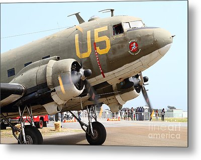Douglas C47 Skytrain Military Aircraft . Spinning Propellers 7d157838 Metal Print by Wingsdomain Art and Photography