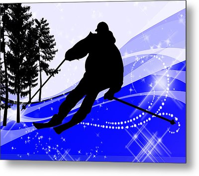 Downhill On The Ski Slope  Metal Print by Elaine Plesser