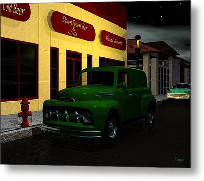 Metal Print featuring the digital art Downtown Bar And Grill by John Pangia