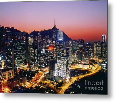 Downtown Hong Kong At Dusk Metal Print by Jeremy Woodhouse