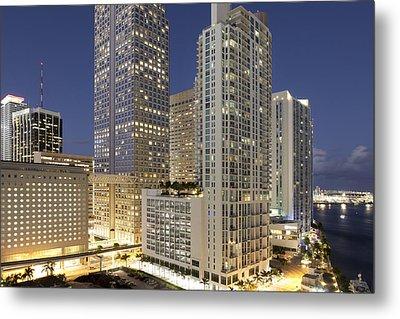 Downtown Miami At Dusk Metal Print by Marcaux