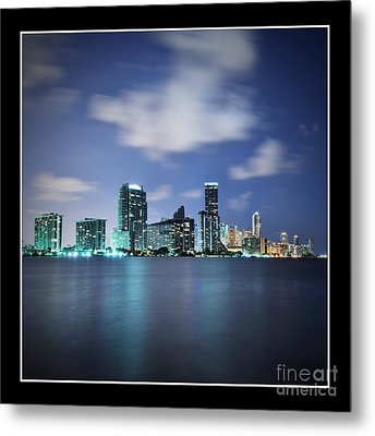 Metal Print featuring the photograph Downtown Miami At Night by Carsten Reisinger