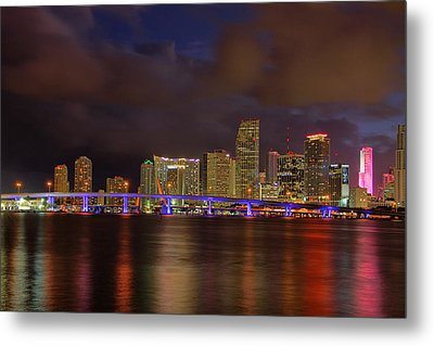 Downtown Miami At Night Metal Print by Claudia Domenig