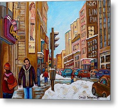 Downtown Montreal Paintings Metal Print by Carole Spandau