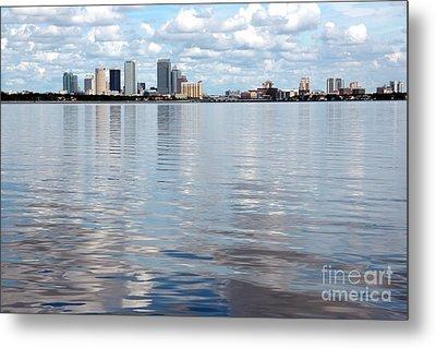 Downtown Tampa Over Hillsborough Bay Metal Print by Carol Groenen