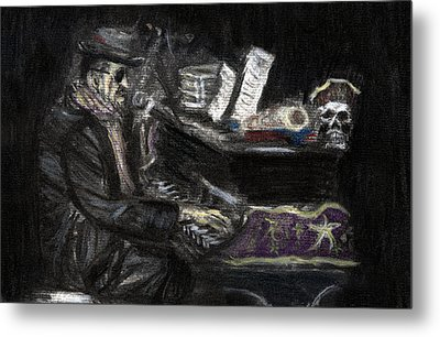 Metal Print featuring the drawing Dr. John In Charcoal And Pastel by Denny Morreale