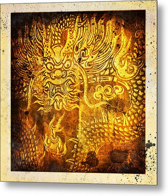 Dragon Painting On Old Paper Metal Print by Setsiri Silapasuwanchai