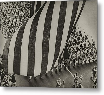 Dramatic Photo Of Us Flag And Uniformed Metal Print by Everett