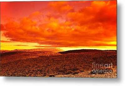 Dramatic Red Sunset At Desert Metal Print by Anna Om