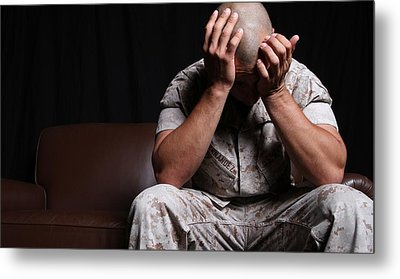 Dramatization Of A Us Marine Affected Metal Print by Everett