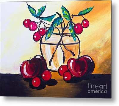 Drawing Of Cherry And Apple Metal Print