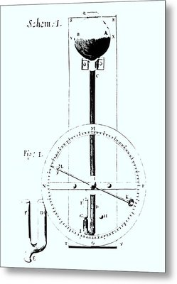 Drawing Of Robert Hooke's Wheel Barometer Of 1665. Metal Print