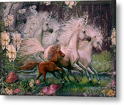 Metal Print featuring the painting Dreams Of Unicorns by Steve Roberts