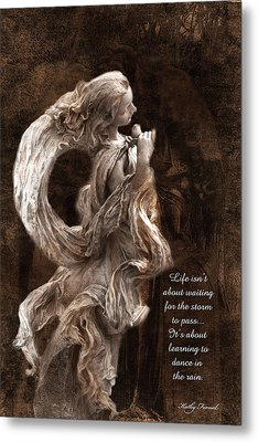 Dreamy Angel With Rose Inspirational Angel Art  Metal Print by Kathy Fornal