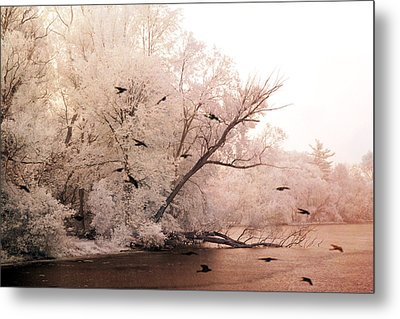 Dreamy Ethereal Infrared Lake With Ravens Birds Metal Print by Kathy Fornal