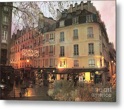 Paris Cafe Street Scene - Dreamy Romantic Paris Night Street Scene Metal Print by Kathy Fornal