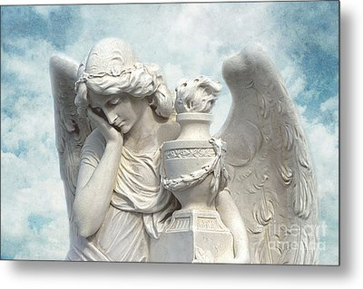 Dreamy Surreal Beautiful Angel Art Blue Sky Metal Print by Kathy Fornal
