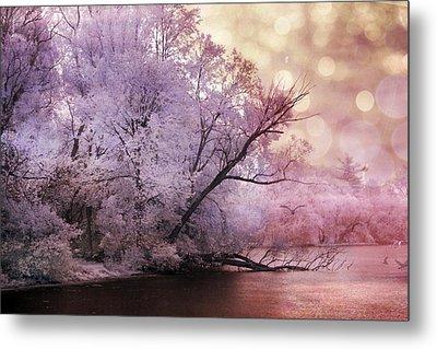 Dreamy Surreal Fantasy Pink Nature Lake Scene Metal Print by Kathy Fornal