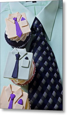 Dress Shirt Cupcakes Metal Print by Garry Gay
