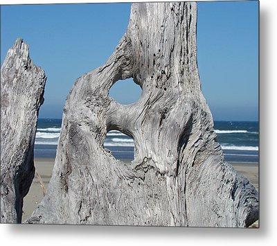 Driftwood Art Prints Coastal Blue Sky Ocean Waves Shoreline Metal Print by Baslee Troutman