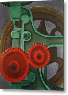 Metal Print featuring the painting Drill Gears by Paul Amaranto