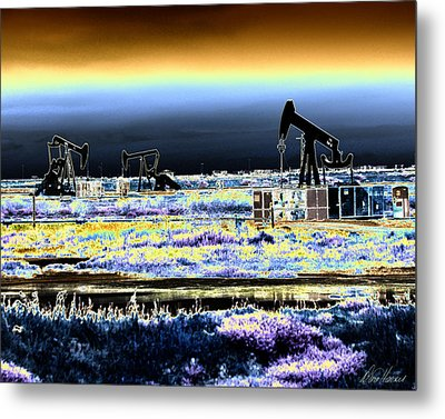 Drilling For Black Gold Metal Print by Diana Haronis