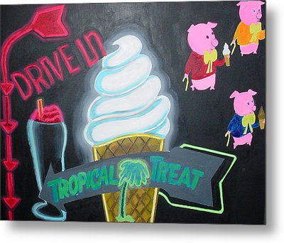 Metal Print featuring the painting Drive In by Diana Riukas