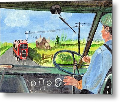 Metal Print featuring the painting Driving   Yesteryear by Audrey Pollitt