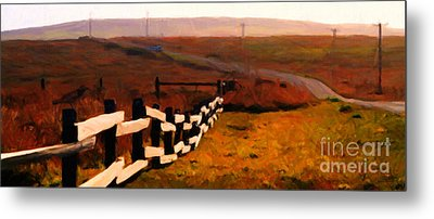 Driving Down The Lonely Road . Long Version Metal Print by Wingsdomain Art and Photography