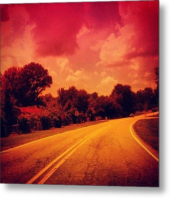 #driving #sky #clouds #road #summer Metal Print by Katie Williams