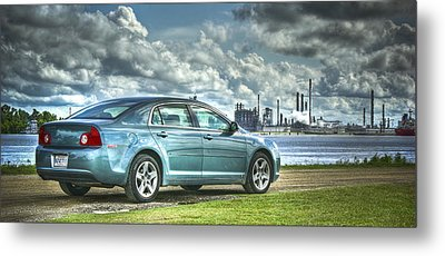 Metal Print featuring the pyrography Drove My Chevy To The Levee by Ray Devlin