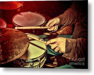 Drumming Metal Print by Kim Wilson