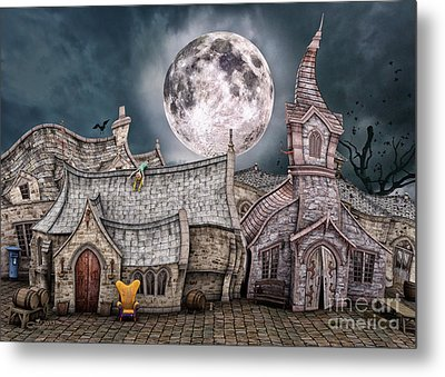Drunken Village Metal Print by Jutta Maria Pusl