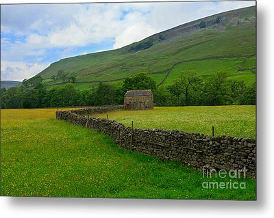 Dry Stone Walls And Stone Barn Metal Print by Louise Heusinkveld