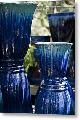 Dual Blue Fluted Pots Metal Print by Teresa Mucha