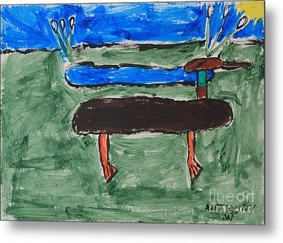 Duck And Pond By The Sea Metal Print by Anthony White