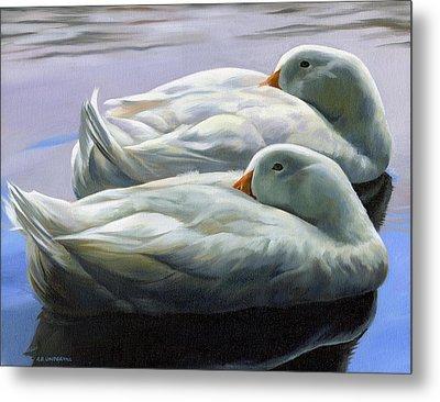 Metal Print featuring the painting Duck Nap by Alecia Underhill