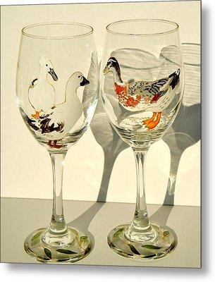 Ducks On Wineglasses Metal Print by Pauline Ross