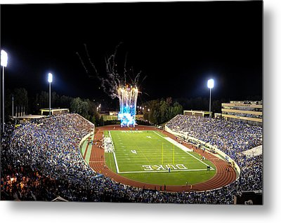 Duke Fireworks At A Packed Wallace Wade Stadium Metal Print by Lance King