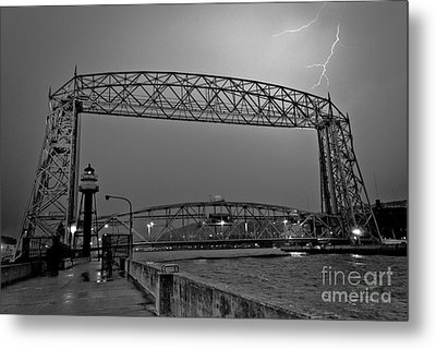 Duluth Lift Bridge Under Lightning Metal Print