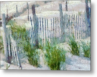 Dune Fences At Cape Hatteras National Seashore Metal Print by Anne Kitzman