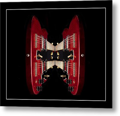 Duo-neck Red Guitar Metal Print by Trudy Wilkerson