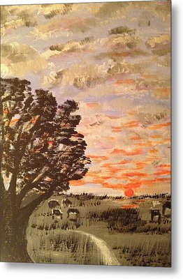 Metal Print featuring the painting Dusk by Brindha Naveen