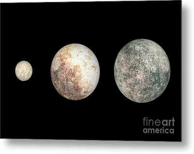 Dwarf Planets Ceres, Pluto, And Eris Metal Print by Walter Myers