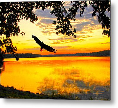Metal Print featuring the photograph Eagle At Sunset by Randall Branham
