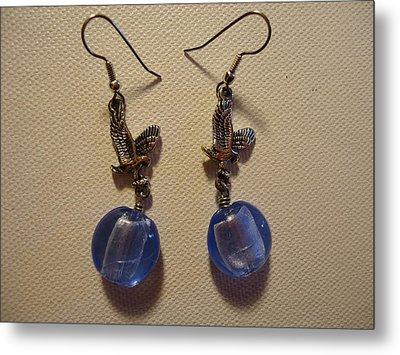 Eagle Soars Blue Sky Earrings Metal Print by Jenna Green
