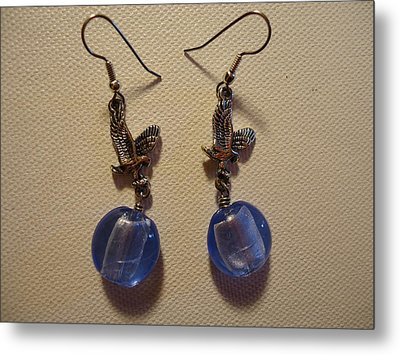 Eagle Soars Blue Sky Earrings Metal Print