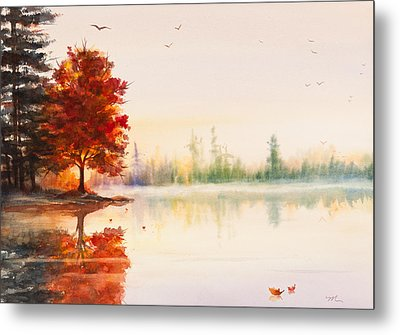 Early Autumn Reflections Watercolor Painting Metal Print by Michelle Wiarda