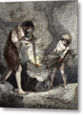 Early Humans Making Fire Metal Print by Sheila Terry
